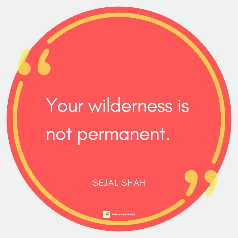 """""""Your wilderness is not permanent."""" --Sejal Shah"""