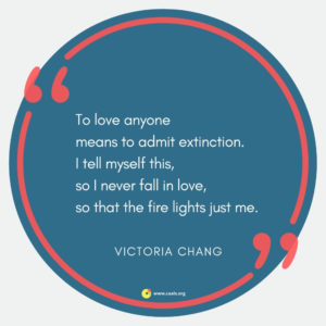 """To love anyone means to admit extinction. I tell myself this, so I never fall in love, so that the fire lights just me."" ― Victoria Chang"