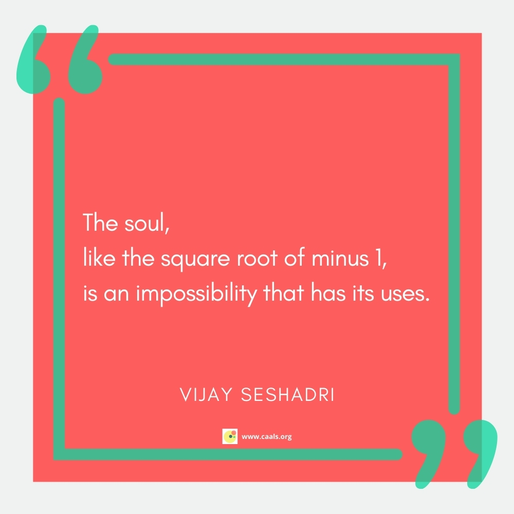 """""""The soul, / like the square root of minus 1, / is an impossibility that has its uses."""" --Vijay Seshadri"""