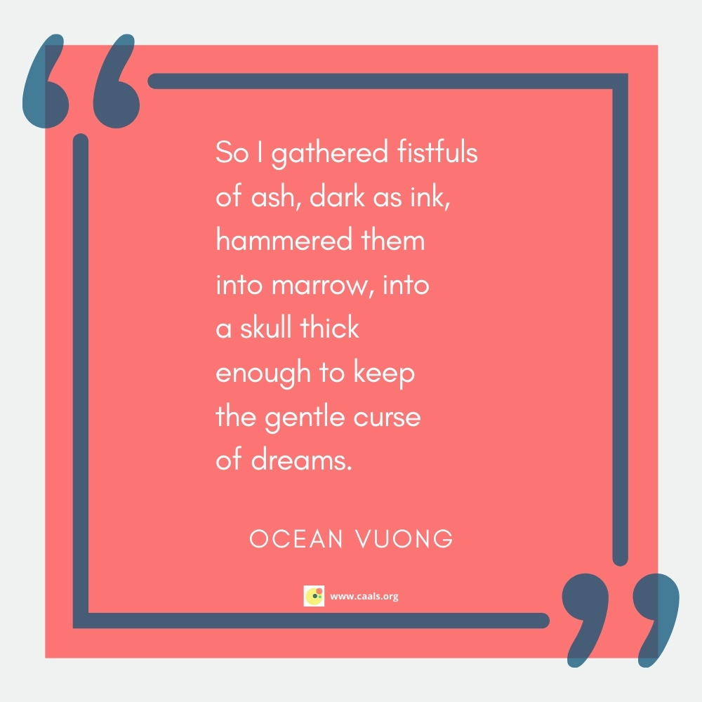 """""""So I gathered fistfuls of ash, dark as ink, hammered them into marrow, into a skull thick enough to keep the gentle curse of dreams."""" --Ocean Vuong"""
