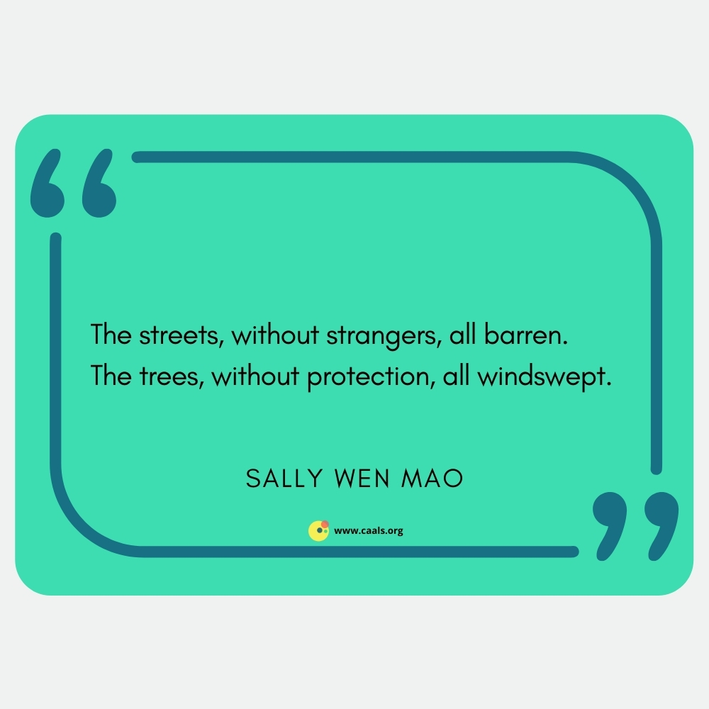 """The streets, without strangers, all barren. / The trees, without protection, all windswept."""" Sally Wen Mao"""