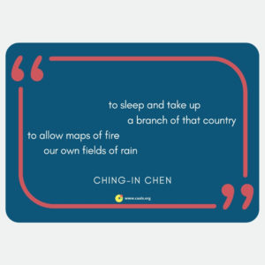 """to sleep and take up / a branch of that country / to allow maps of fire / our own fields of rain"" --Ching-In Chen"