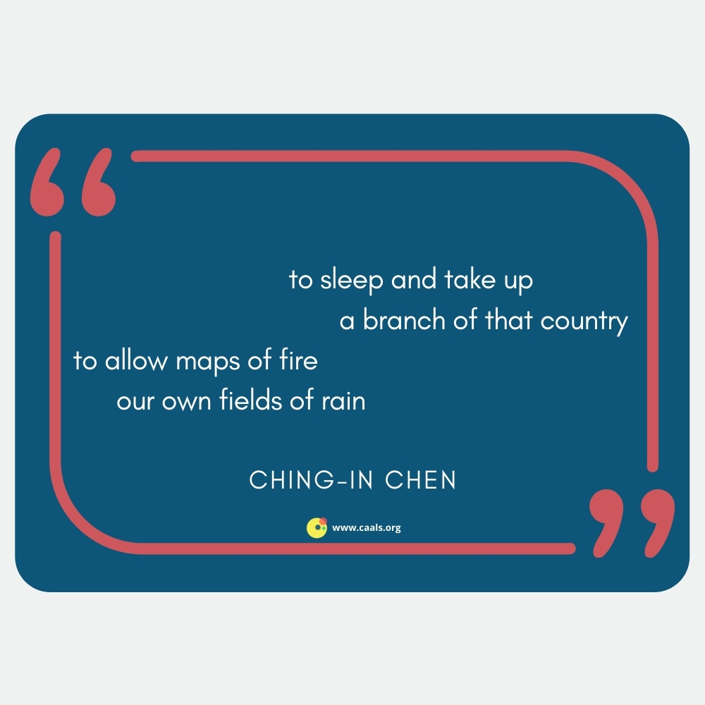 """""""to sleep and take up / a branch of that country / to allow maps of fire / our own fields of rain"""" --Ching-In Chen"""
