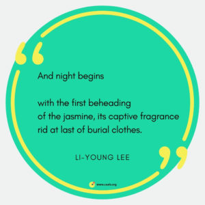 """And night begins // with the first beheading / of the jasmine, its captive fragrance / rid at last of burial clothes."" --Li-Young Lee"